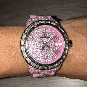 Pink Swarovski crystal Toy Watch